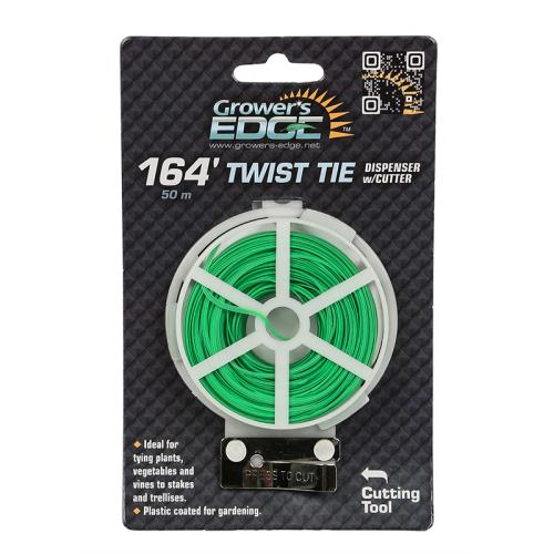 Grower's Edge Green Twist Tie Dispenser w/ Cutter - 164 ft (6/Cs)