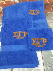 Sigma Gamma Rho 3-piece Embroidered Personalized Towel Set