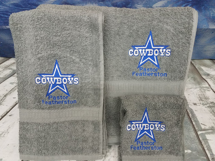 Dallas Cowboys NFL 3 Piece Personalized Embroidered  Towel Set
