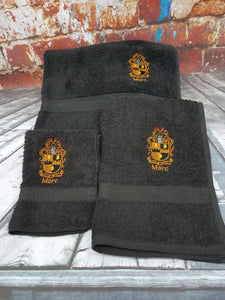 Alpha Phi Alpha Fraternity 3 Piece Personalized Bath Towel Set with Embroidered Greek Letters and Name or College. A Phi A personalized embroidered 3 piece bath towel set.