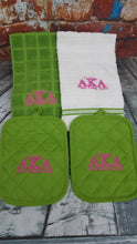 Alpha Kappa Alpha AKA Sorority 4 Piece Personalized Embroidered Kitchen Set Oven Pot Holder Monogrammed Towel Set
