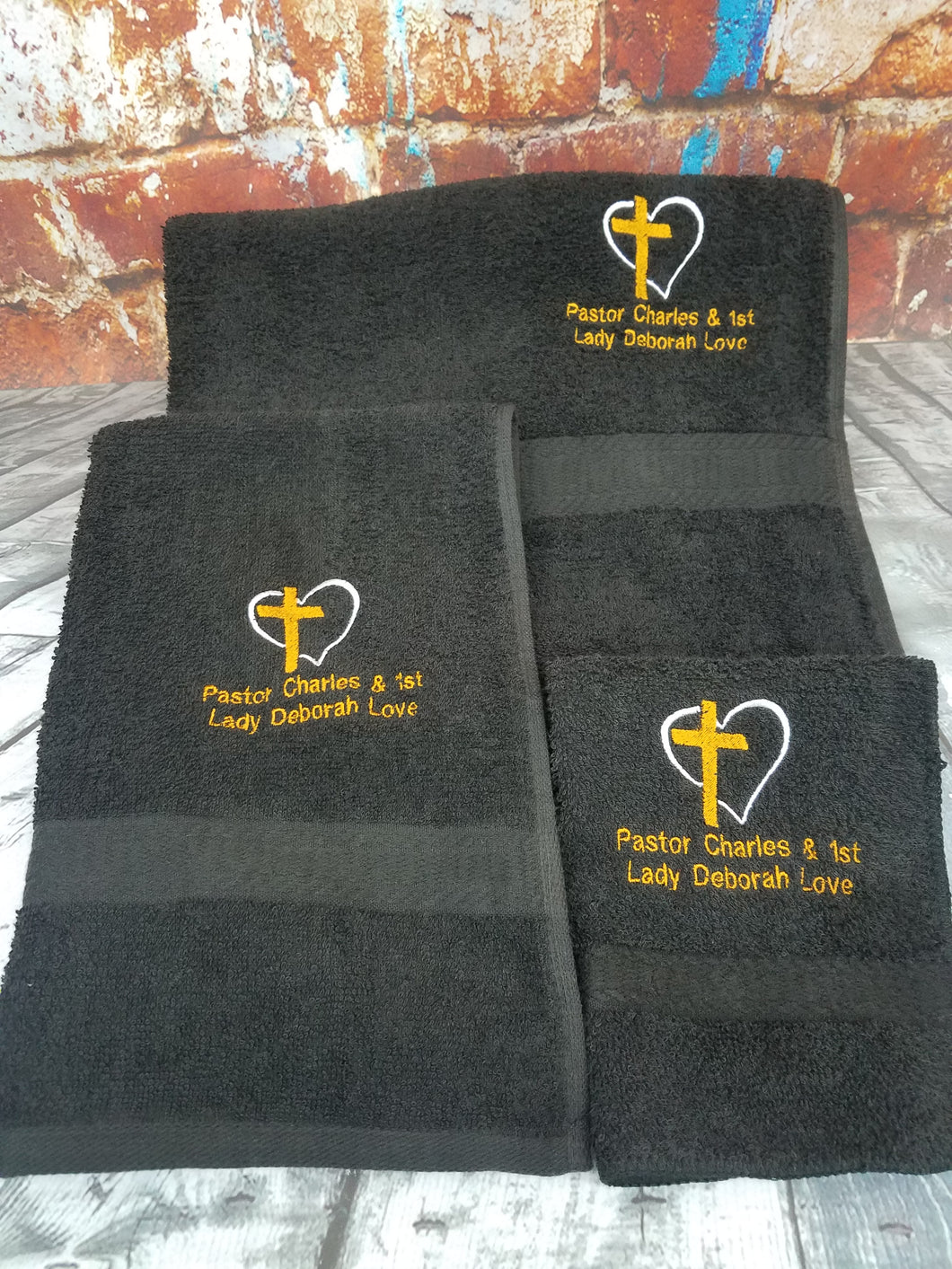 Christian Religious 3-Piece Towel Set. Embroidery Customized Name. Pastor Minister Deacon Elder Trustee First Lady Bishop Father Towel Set.