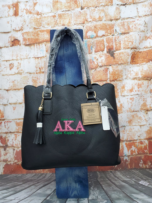 AKA Sorority Personalize Handbag Alpha Kappa Alpha Embroidery Faux Leather Tote - Magnetic Closure bag - Personalized AKA Sorority Gift - Birthday gift