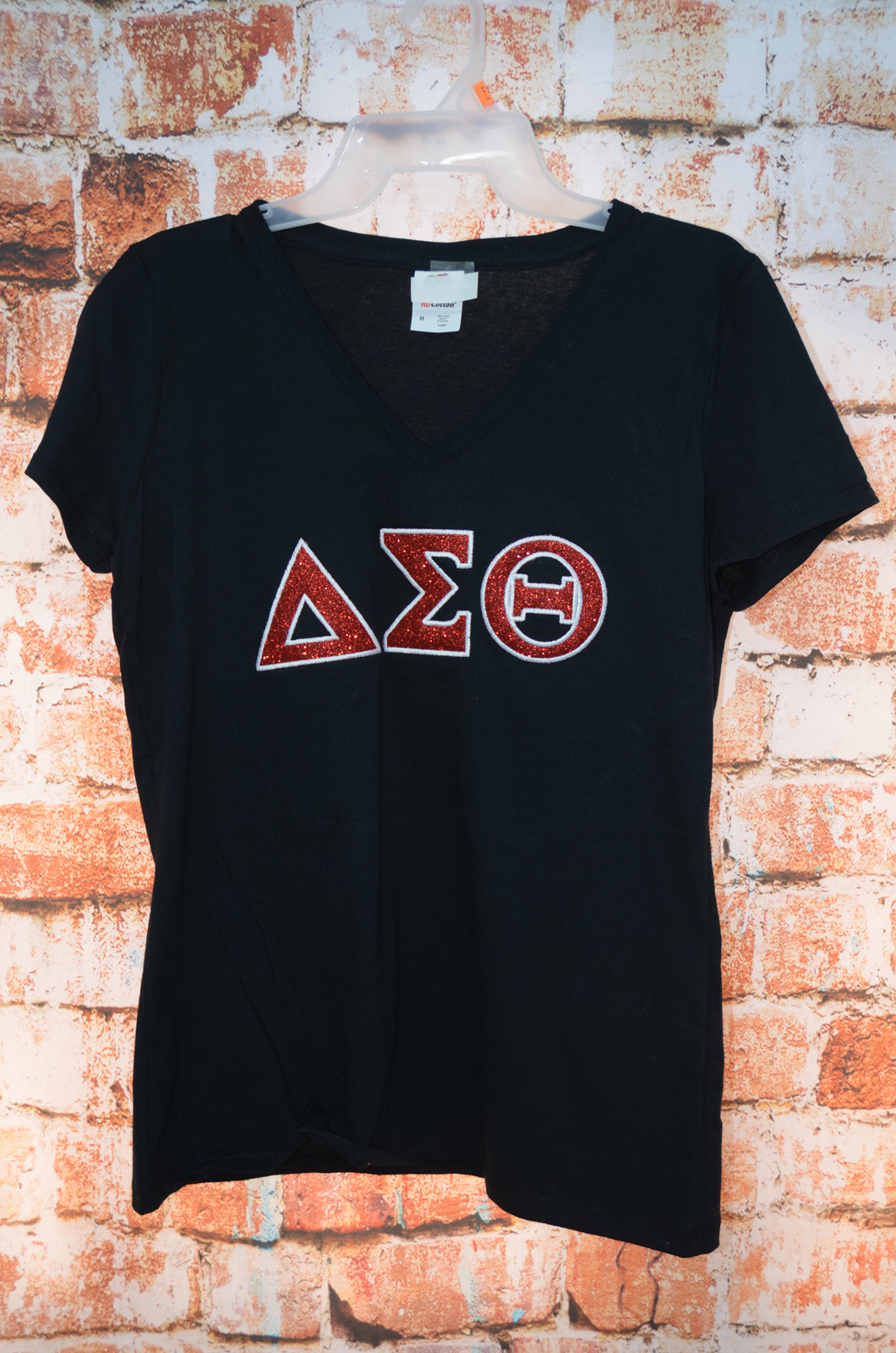 Delta Sigma Theta Sorority Glitter Applique Embroidered V-Neck T-shirt