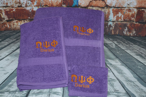 Omega Psi Phi 3-Piece Towel Set
