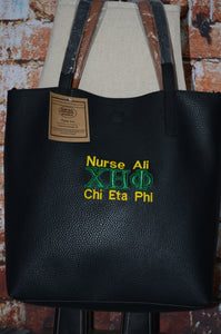Chi Eta Phi Nurses Sorority Personalize Handbag - Nursing Green and Yellow Lettering Monogrammed Embroidery Faux Leather Tote Purse - Magnetic Closure bag - Personalized Sorority Gift - Birthday gift