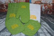 CHI ETA PHI -Nurses Sorority- Embroidered Yellow and Green Kitchen Pot Holder Set Towel Set Sorority Kitchen Towel Pot Holder Set