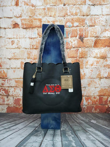 Delta Sigma Theta Sorority Personalize Handbag - Monogrammed Embroidery Faux Leather Tote - Personalized Gift