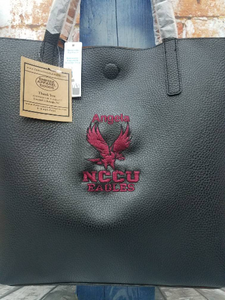 NCCU North Carolina Central University HBCU Faux Leather Embroidered Personalize Handbag Messenger Tote.