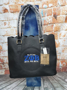 Zeta Phi Beta Black Sorority Personalize Handbag - Blue letters, Zeta Monogrammed Embroidery Faux Leather Tote - Magnetic Closure bag