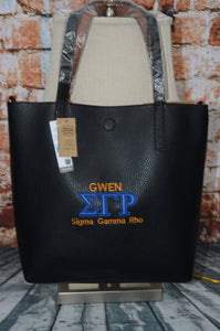 Sigma Gamma Rho Sorority Personalize Handbag - Embroidery Faux Leather Tote - Personalized Sorority Gift - Perfect Birthday gift