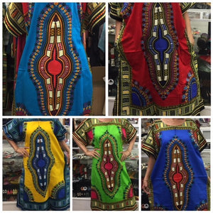 100% Cotton Fabric, Dashiki Print Kaftan with Zipper, 1X, 2X, 3X