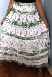 100% Cotton Wrap Skirt ! Batik Print ! One Size Fits Most ! A Line Wrap Skirt !!