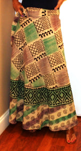 100% Cotton Wrap Skirt ! Block Print ! One Size Fits Most ! A Line Wrap Skirt !!