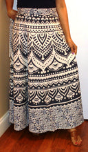 Load image into Gallery viewer, 100% Cotton Wrap Skirt ! Block Print ! One Size Fits Most ! A Line Wrap Skirt !!