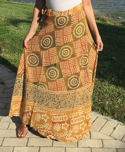 100% Fine Rayon Mustard Color Wrap Skirt | Block Print ! One Size Fits Most |