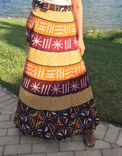 Load image into Gallery viewer, 100% Fine Rayon Wrap Skirt | African Print ! One Size Fits Most | A Line Wrap Skirt Perfect Fit for any Size