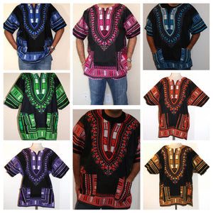 Plus Size African Dashiki! Unisex Black Red Daishiki! 1X 2X 3X