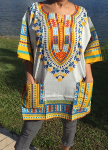 African Unisex White with Yellow Dashiki Plus Size! Hippie Shirt! 60s 70s Look!