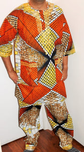 African Unisex Pant Set With Head Piece ! Embroidered ! One Size !!