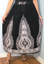 Load image into Gallery viewer, Broomstick Skirt ! Black and White Crinkle Rayon ! One Size, Fits Most ! Peasant Boho !!