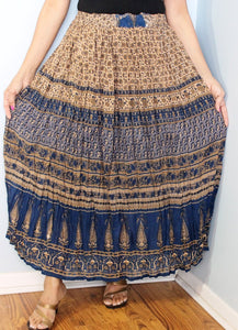 Broomstick Skirt ! Blue Crinkle Rayon ! One Size, Fits Most !