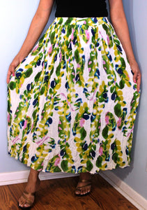 Broomstick Skirt ! Colorful Crinkle Rayon ! One Size, Fits Most ! Peasant Boho !! Modern Print!!