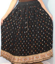 Load image into Gallery viewer, Broomstick Skirt ! Black and Gold Print Crinkle Rayon ! One Size, Fits Most ! Peasant Boho !!