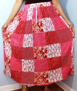Broomstick Skirt ! Patch Print Crinkle Rayon ! One Size, Fits Most ! Peasant Boho !!