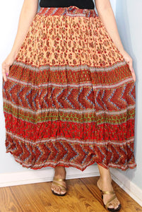 Broomstick Skirt ! Red Crinkle Rayon ! One Size, Fits Most !