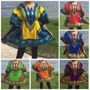 African Dashiki with the elastic waist! Can fit Plus size, free size, fits Plus Size too.