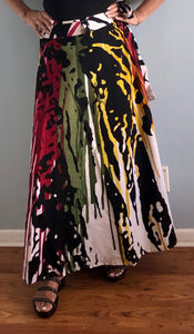 E 100% Cotton Wrap Skirt | Paint Print ! One Size Fits Most |