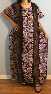 100% Cotton Plus size 1X 2X 3X Printed Cotton Caftan ! One Size Fits Most Caftan !!
