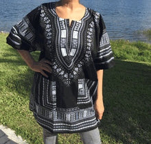 Load image into Gallery viewer, African Dashiki! Unisex Black White Daishiki! 1X 2X 3X