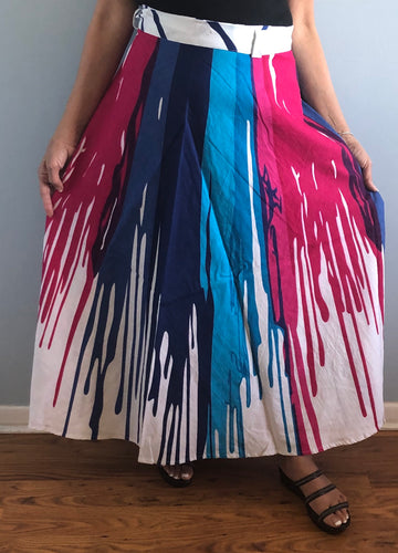 100% Cotton Wrap Skirt | Paint Print ! One Size Fits Most |