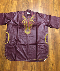 African Dashiki ! One & Only One Ethnic Dashiki From Ghana ! Burgundy color Men's Dashiki With Cap!