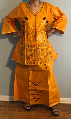 African Skirt Set made in Ghana! One of a kind ! Mustard Gold Color!