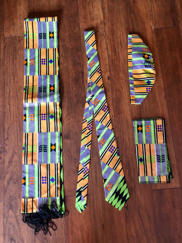 Tie, Kufi, scarf and a pocket square set!