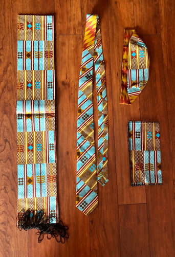 Tie, Kufi, scarf and a pocket square set! Perfect for Father's Day Gift!!