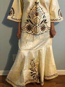 African Skirt Set made in Ghana !  Unique Embroidered Skirt Set!