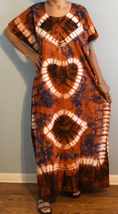 100% Cotton Plus size 1X 2X 3X Tie-Dye Caftan !