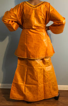 Load image into Gallery viewer, African Skirt Set made in Ghana! One of a kind ! Mustard Gold Color!