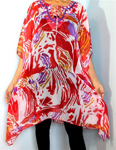 Tunic Top, Plus Size, Printed Georgette, One Size