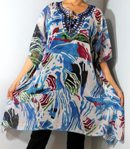 Tunic Top, Plus Size, Printed Georgette, One Size Fits most !!