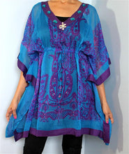 Load image into Gallery viewer, Tunic Top, Plus Size, Silky, Printed Georgette with Drawstring!! One Size Fits Most !!