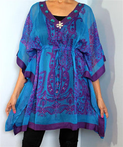Tunic Top, Plus Size, Silky, Printed Georgette with Drawstring!! One Size Fits Most !!