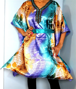 Tunic Top, Plus Size, Silky Satin, Printed and Sequined