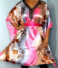 Load image into Gallery viewer, Tunic Top, Plus Size, Silky Satin, Printed and Sequined, with Belt