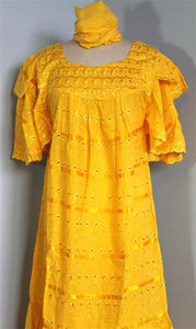 African Wrap Skirt Set ! Yellow color African skirt Set with scarf !