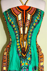 Dashiki Print Tube Halter Green Sun Dress or Skirt! One Size!